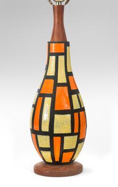 Mid Century Orange and Yellow Ceramic Lamp - 1064523