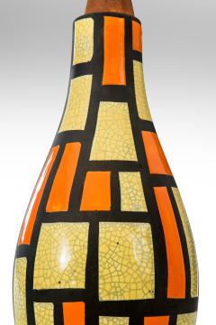 Mid Century Orange and Yellow Ceramic Lamp - 1064525