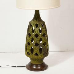 Mid Century Organic Modern Sculptural Latticework Table Lamp - 1733331