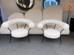 Mid Century Pair of Armchairs in Boucl Fabric by IPA Bologne Italy 1950s - 2003553