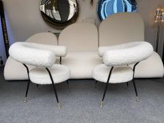 Mid Century Pair of Armchairs in Boucl Fabric by IPA Bologne Italy 1950s - 2003554