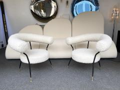 Mid Century Pair of Armchairs in Boucl Fabric by IPA Bologne Italy 1950s - 2003558
