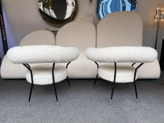 Mid Century Pair of Armchairs in Boucl Fabric by IPA Bologne Italy 1950s - 2003559