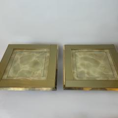 Mid Century Pair of Squared Wood Brass Green Artistic Glass Coffee Tables - 2132099