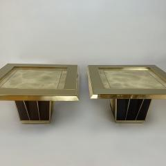 Mid Century Pair of Squared Wood Brass Green Artistic Glass Coffee Tables - 2132102