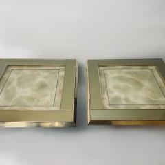 Mid Century Pair of Squared Wood Brass Green Artistic Glass Coffee Tables - 2132103