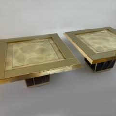 Mid Century Pair of Squared Wood Brass Green Artistic Glass Coffee Tables - 2132104