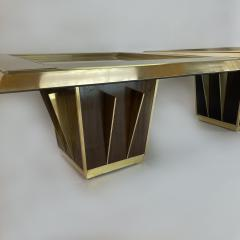 Mid Century Pair of Squared Wood Brass Green Artistic Glass Coffee Tables - 2132105