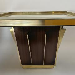 Mid Century Pair of Squared Wood Brass Green Artistic Glass Coffee Tables - 2132106