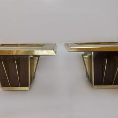 Mid Century Pair of Squared Wood Brass Green Artistic Glass Coffee Tables - 2132107