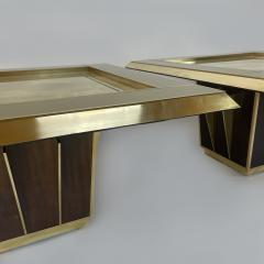 Mid Century Pair of Squared Wood Brass Green Artistic Glass Coffee Tables - 2132108