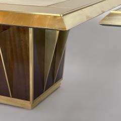 Mid Century Pair of Squared Wood Brass Green Artistic Glass Coffee Tables - 2132109