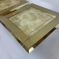 Mid Century Pair of Squared Wood Brass Green Artistic Glass Coffee Tables - 2132110