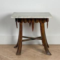 Mid Century Palm Leaf Table With Antique Marble Top Hawaii - 1580318