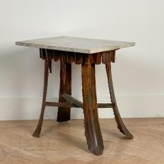 Mid Century Palm Leaf Table With Antique Marble Top Hawaii - 1580319