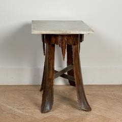 Mid Century Palm Leaf Table With Antique Marble Top Hawaii - 1580320