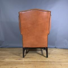 Mid Century Red Orange Leather Wingback Lounge Chair - 1410718