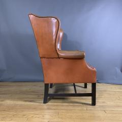 Mid Century Red Orange Leather Wingback Lounge Chair - 1410719