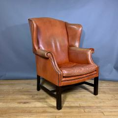 Mid Century Red Orange Leather Wingback Lounge Chair - 1410720