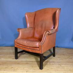 Mid Century Red Orange Leather Wingback Lounge Chair - 1410721