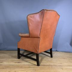 Mid Century Red Orange Leather Wingback Lounge Chair - 1410722
