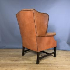 Mid Century Red Orange Leather Wingback Lounge Chair - 1410723