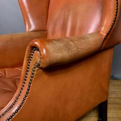 Mid Century Red Orange Leather Wingback Lounge Chair - 1410724
