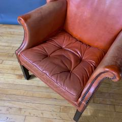 Mid Century Red Orange Leather Wingback Lounge Chair - 1410725