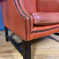 Mid Century Red Orange Leather Wingback Lounge Chair - 1410726
