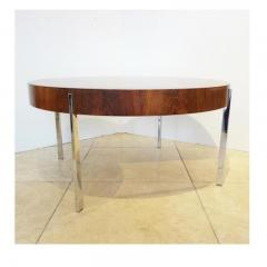 Mid Century Round Cocktail Table in Walnut and Chrome France Circa 1965 - 242125