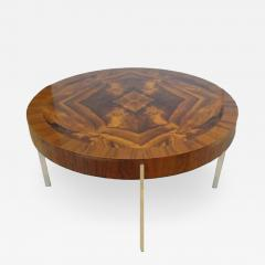 Mid Century Round Cocktail Table in Walnut and Chrome France Circa 1965 - 242178