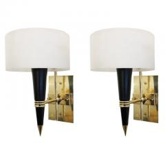Mid Century Sconces with Round Glass Shades - 1091994