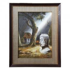 Mid Century Soothing Reflective Buddha Painting - 1803622
