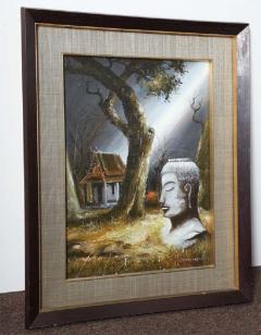 Mid Century Soothing Reflective Buddha Painting - 1803626