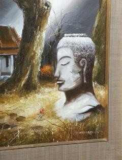 Mid Century Soothing Reflective Buddha Painting - 1803628
