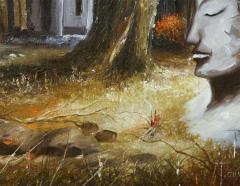 Mid Century Soothing Reflective Buddha Painting - 1803632