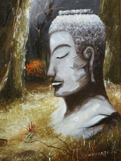 Mid Century Soothing Reflective Buddha Painting - 1803633