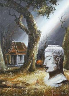 Mid Century Soothing Reflective Buddha Painting - 1805454
