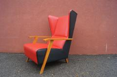 Mid Century Spanish High back Leather Lounge Chair - 1148609