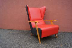 Mid Century Spanish High back Leather Lounge Chair - 1148610