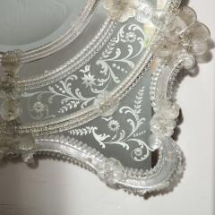 Mid Century Venetian Reverse Eglomise Braided Cartouche Mirror w Murano Florets - 2004956