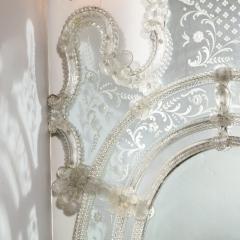 Mid Century Venetian Reverse Eglomise Braided Cartouche Mirror w Murano Florets - 2004958