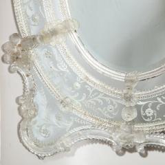 Mid Century Venetian Reverse Eglomise Braided Cartouche Mirror w Murano Florets - 2004959