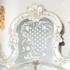 Mid Century Venetian Reverse Eglomise Braided Cartouche Mirror w Murano Florets - 2004961