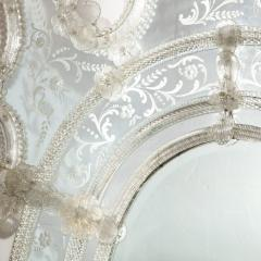 Mid Century Venetian Reverse Eglomise Braided Cartouche Mirror w Murano Florets - 2004966