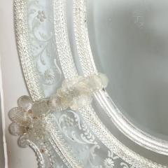 Mid Century Venetian Reverse Eglomise Braided Cartouche Mirror w Murano Florets - 2004967