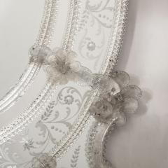 Mid Century Venetian Reverse Eglomise Braided Cartouche Mirror w Murano Florets - 2004968