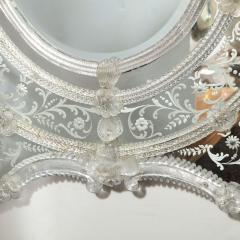 Mid Century Venetian Reverse Eglomise Braided Cartouche Mirror w Murano Florets - 2004969