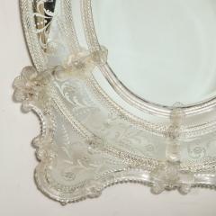 Mid Century Venetian Reverse Eglomise Braided Cartouche Mirror w Murano Florets - 2004977