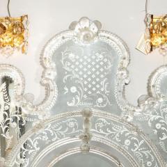 Mid Century Venetian Reverse Eglomise Braided Cartouche Mirror w Murano Florets - 2004981